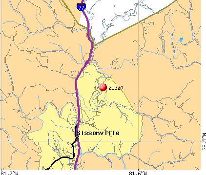 Sissonville, WV (25320) map