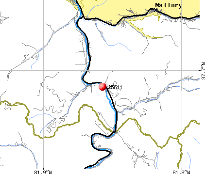 Bruno, WV (25611) map