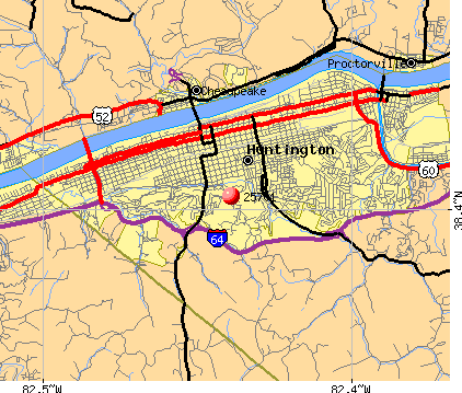 Huntington, WV (25701) map
