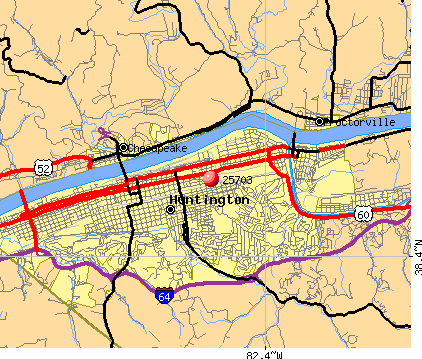 Huntington, WV (25703) map