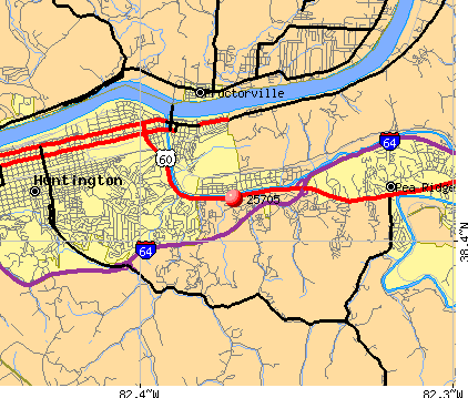 Huntington, WV (25705) map