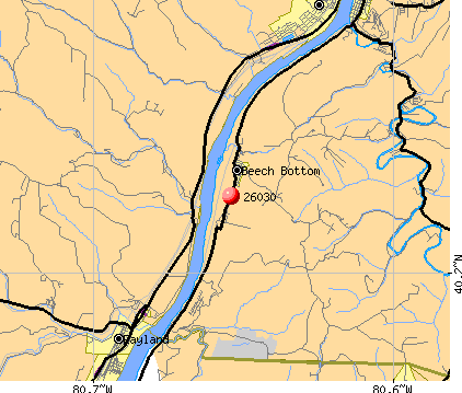 Beech Bottom, WV (26030) map