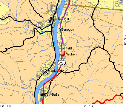 McMechen, WV (26040) map