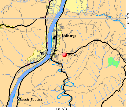 Wellsburg, WV (26070) map