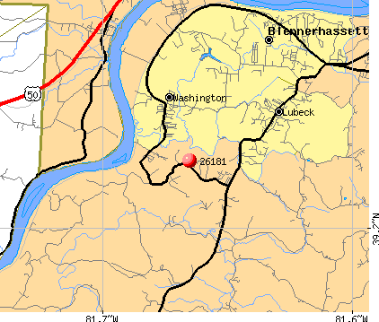 Washington, WV (26181) map