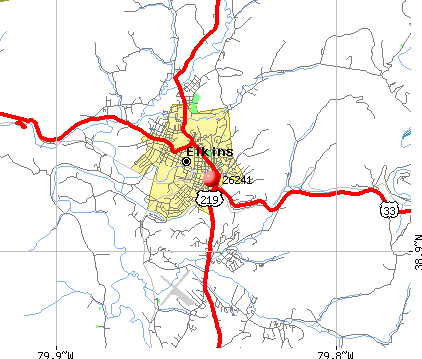 Elkins, WV (26241) map