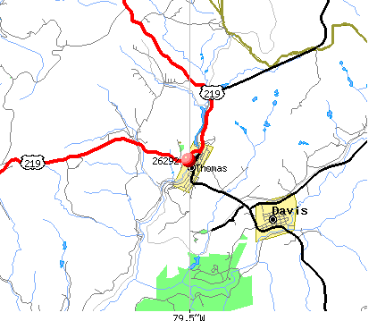 Thomas, WV (26292) map