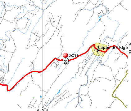 Capon Bridge, WV (26711) map