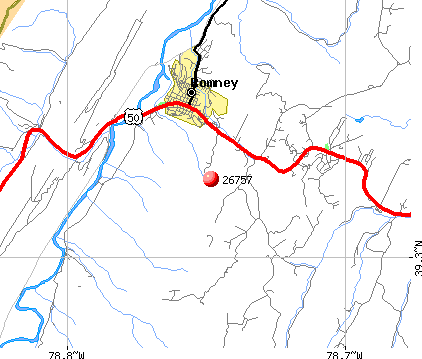 Romney, WV (26757) map