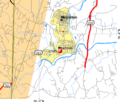 Madison, NC (27025) map