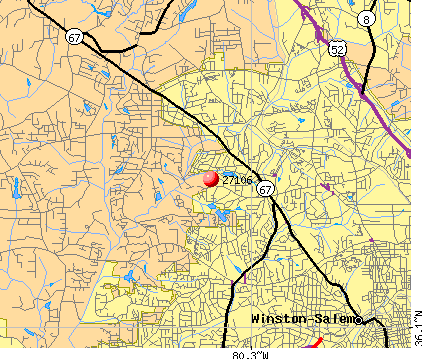 Winston-Salem, NC (27106) map