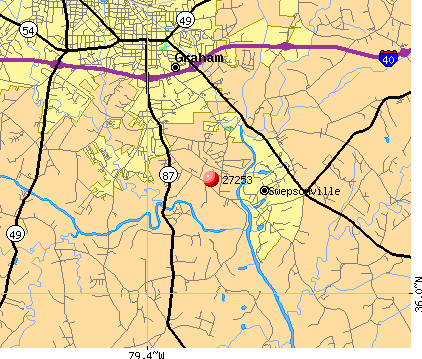 Graham, NC (27253) map