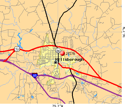 Hillsborough, NC (27278) map