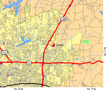 Greensboro, NC (27405) map