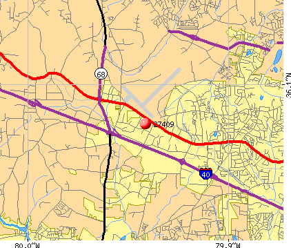 Greensboro, NC (27409) map