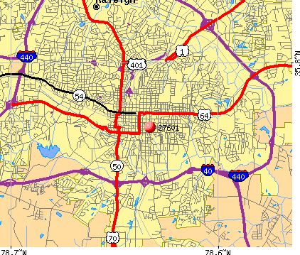 Raleigh, NC (27601) map
