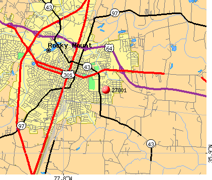 Rocky Mount, NC (27801) map