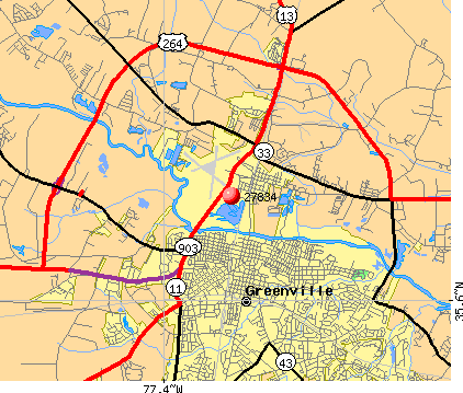 Greenville, NC (27834) map