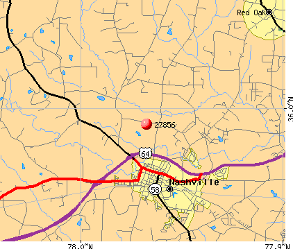 Red Oak, NC (27856) map