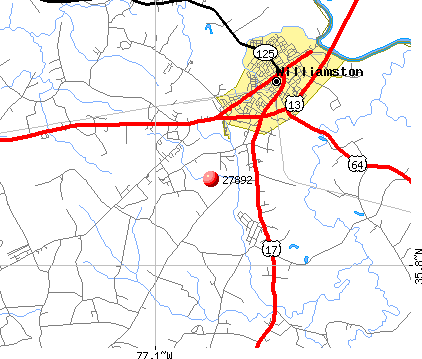 Williamston, NC (27892) map