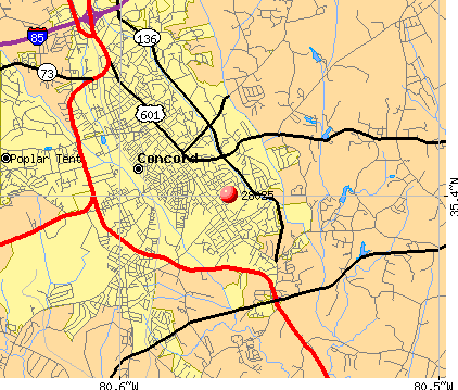 Concord, NC (28025) map
