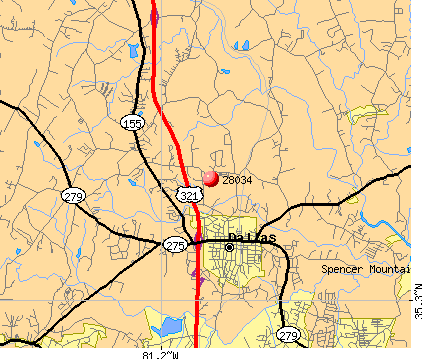 Dallas, NC (28034) map