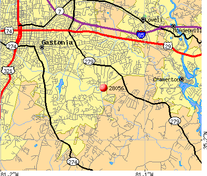 Gastonia, NC (28056) map