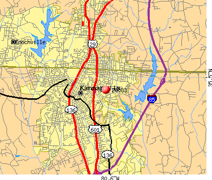 Kannapolis, NC (28083) map