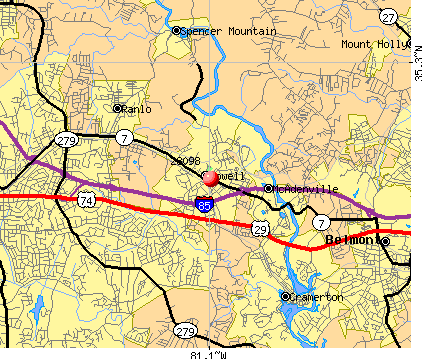 Lowell, NC (28098) map