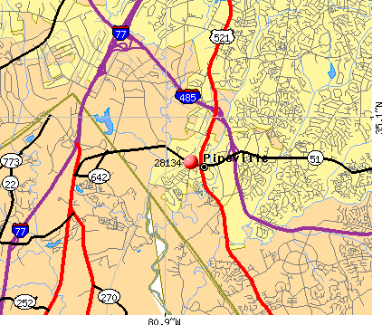 Pineville, NC (28134) map