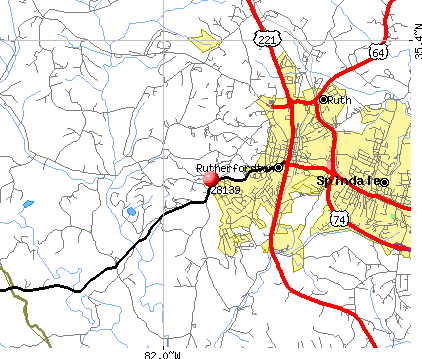 Rutherfordton, NC (28139) map