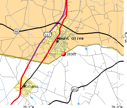 Mount Olive, NC (28365) map