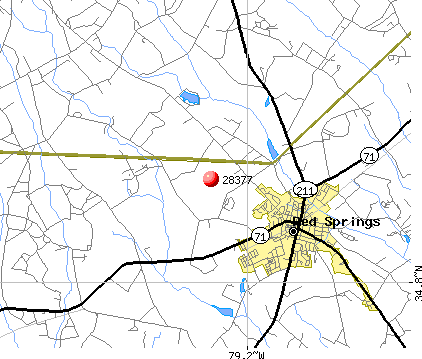 Red Springs, NC (28377) map