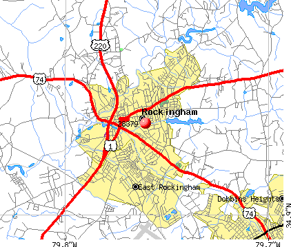 Rockingham, NC (28379) map