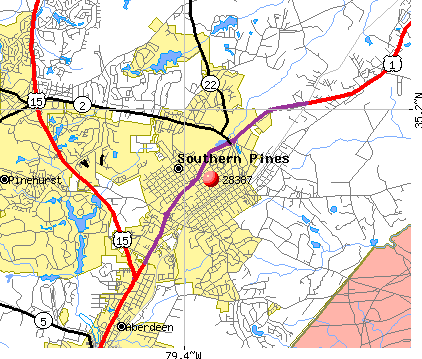 Southern Pines, NC (28387) map