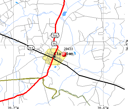 Clarkton, NC (28433) map