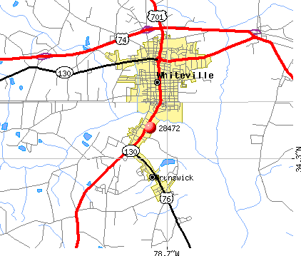 Whiteville, NC (28472) map