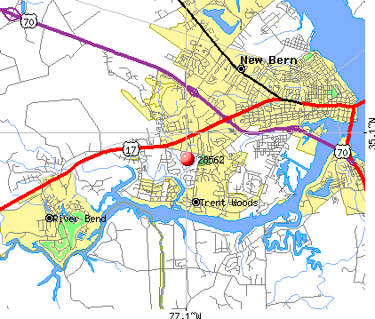 New Bern, NC (28562) map