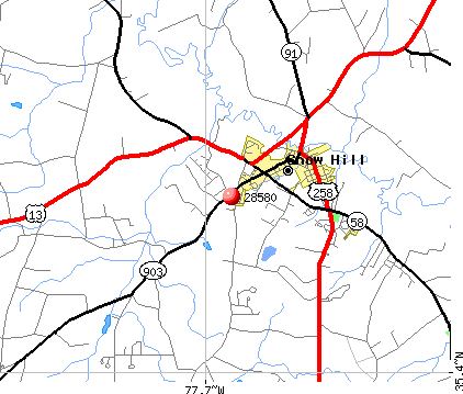 Snow Hill, NC (28580) map