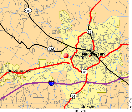Morganton, NC (28655) map