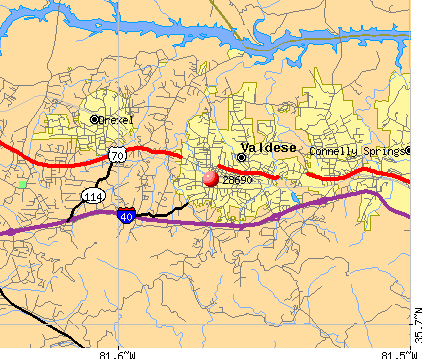 Valdese, NC (28690) map