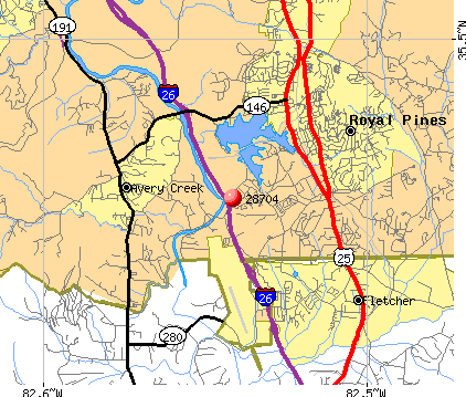 Royal Pines, NC (28704) map