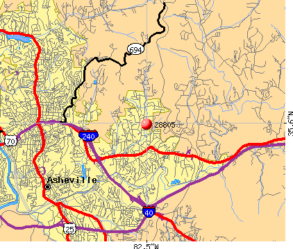 Asheville, NC (28805) map