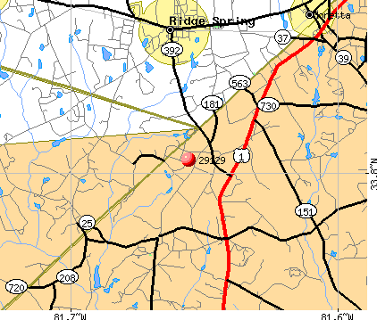 Ridge Springs sc Map Ridge Spring sc 29129 Map