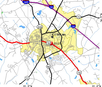 Clinton, SC (29325) map