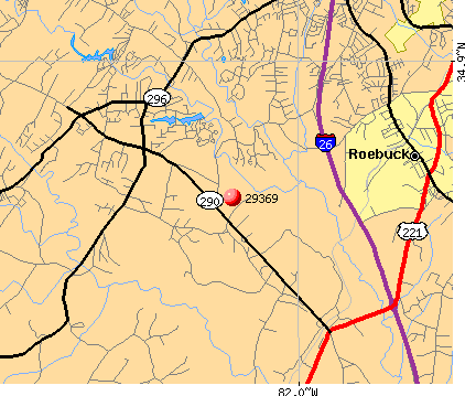 Roebuck, SC (29369) map