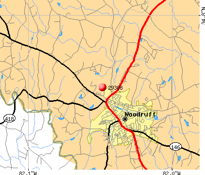 Woodruff, SC (29388) map