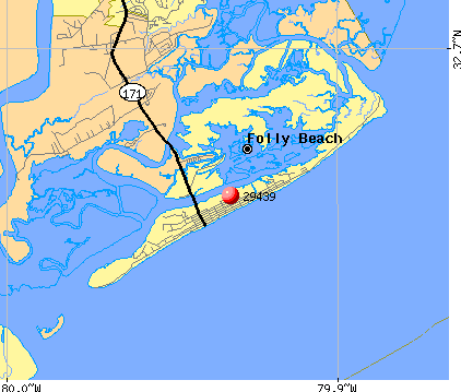 Folly Beach, SC (29439) map