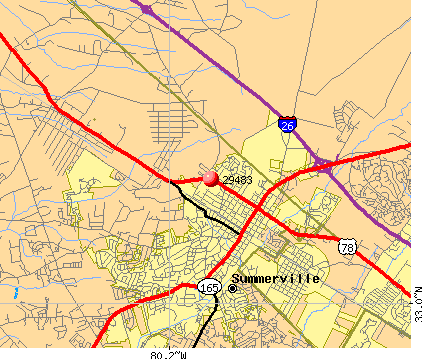 Summerville, SC (29483) map