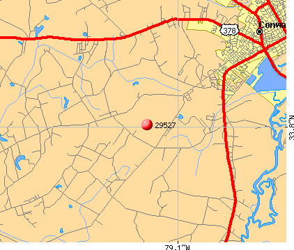 Conway, SC (29527) map